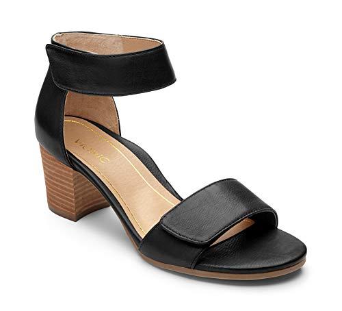 Vionic Women's Solana Block Heels- Ladies Adjustable Heel Sandals with Concealed Orthotic Support Black 7.5 M -