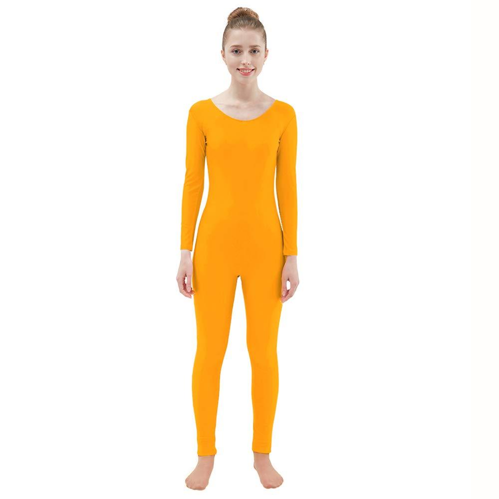 Ensnovo Womens Spandex Bodysuit Long Sleeve Scoop Neckline Footless Unitard Orange,XXL by Ensnovo