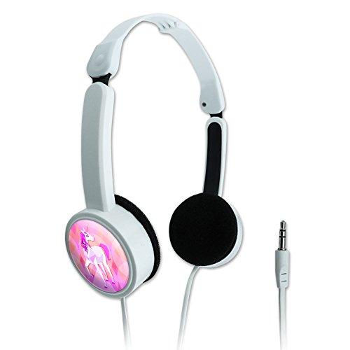 Novelty Travel Portable On-Ear Foldable Headphones Geometric Animals - Unicorn Pink Fantasy