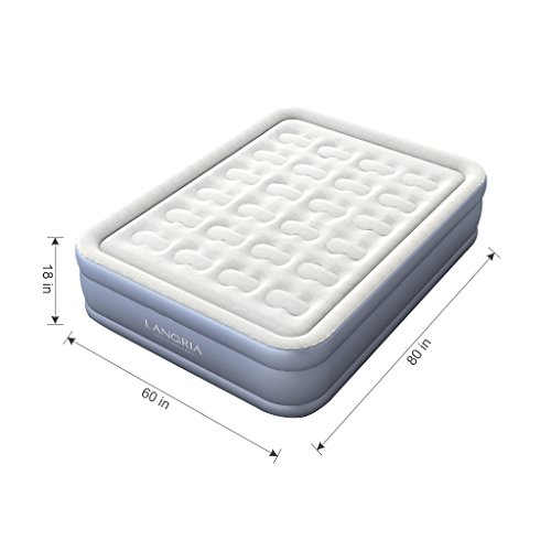 LANGRIA Plush Flocked Elevated Air Mattress with Easy Inflate Built In Electric Pump