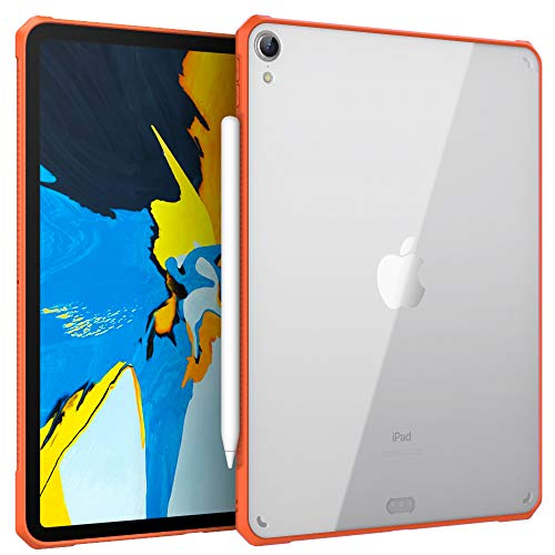 """MoKo Case Fit iPad Pro 11"""" 2018 [Support Apple Pencil 2 Charging Function] Flexible TPU Air-Pillow Edge Bumper Cushion Combines Ultra Slim Lightweight Transparent Hard PC Back Cover Shell - Orange"""
