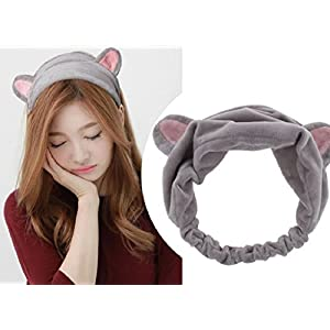 Top Cheer 2PC Cute Cat Ear Hair Band For Women Wash Face Makeup Running Sport (Gray)