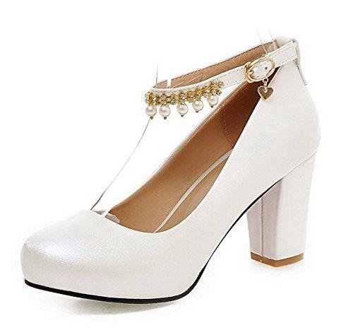 AllhqFashion Damen Rund Zehe Weiches Material Rein Schnalle Pumps Schuhe Weiß