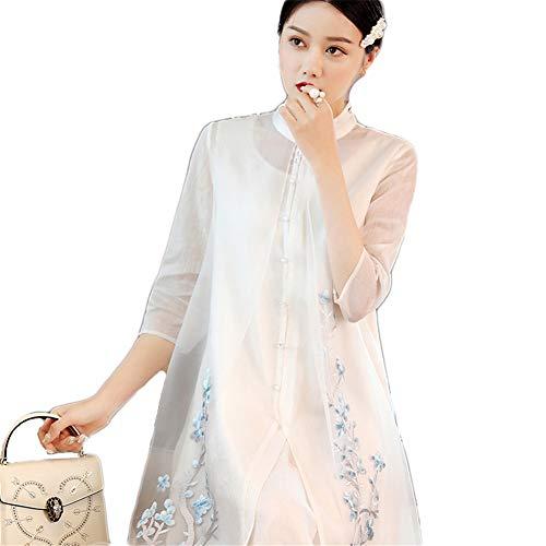 Womens Maxi High-Low Halter Handkerchief Long Dress Beach Party Hanfu Chinese Costume,White,S
