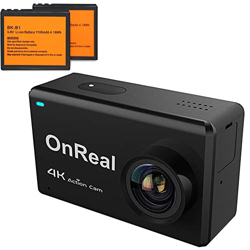 OnReal Outdoor Sports 4K Action Camera 16MP Photo Resolution 2.45'' Touch Screen 170 Degree Viewing Angle 2 Rechargeable Batteries Black