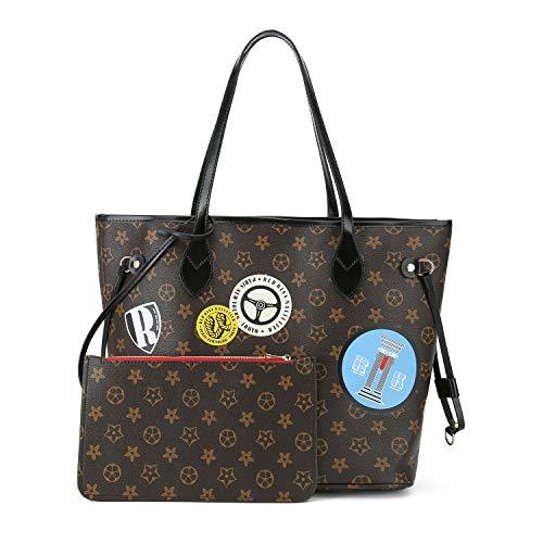 Crossbody Purse Black Leather Purse Handbags Big 2pcs Set Satchel Bags for Women Purse with Wallets ()
