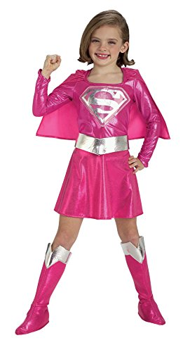 Pink Supergirl Fancy Dress Costume (Girls Supergirl Pink Kids Child Fancy Dress Party Halloween Costume, M (8-10))