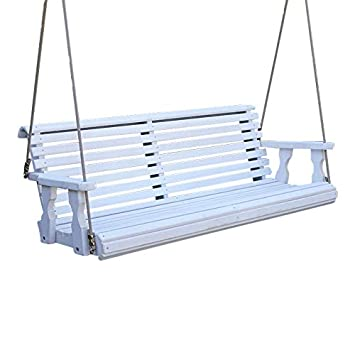 CAF Amish Heavy Duty 800 Lb Roll Back Treated Porch Swing with Hanging Ropes 5 Foot, Semi-Solid White Stain