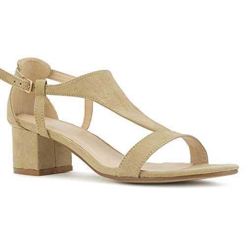 (RF ROOM OF FASHION Women's T-Strap Wrapped Chunky Heel Sandals Beige Size.10)