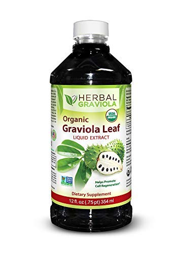 Graviola Leaf Extract Liquid - Soursop (Guanabana) Leaves - USDA Organic, Non GMO, Kosher - Cell Support & Regeneration & Stress Relief - Immune Boost - Made in USA by Herbal Goodness - 12oz Bottle