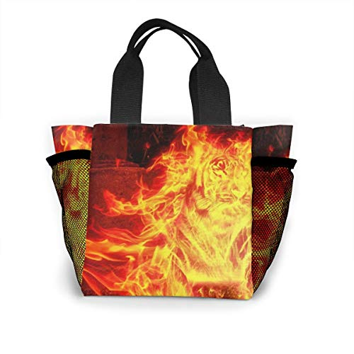 Lunch Bag Tote Handbag Multi-purpose Flame Burning Myth Tiger Figure Stone Reusable With Mesh Pocket Picnic School Office Shopping Luchbox For Women