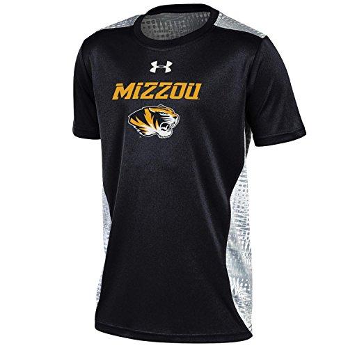 NCAA Missouri Tigers Boys NCAA Under Armour Boys' Short sleeve Raid Novelty Tee, Black, X-Large