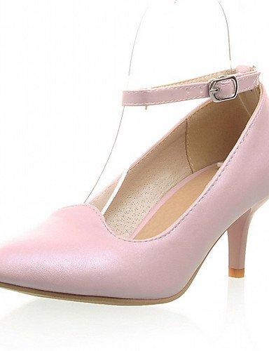 ZQ Zapatos de mujer-Tac¨®n Robusto-Tacones-Tacones-Oficina y Trabajo / Vestido / Casual-Semicuero-Azul / Rosa / Blanco , pink-us9.5-10 / eu41 / uk7.5-8 / cn42 , pink-us9.5-10 / eu41 / uk7.5-8 / cn42 white-us8.5 / eu39 / uk6.5 / cn40