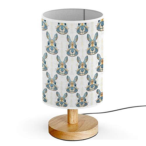 Rabbit Head Cylinder - ARTSYLAMP - Wood Base Decoration Desk Table Bedside Light Lamp [ Bunny Head Rabbit ]