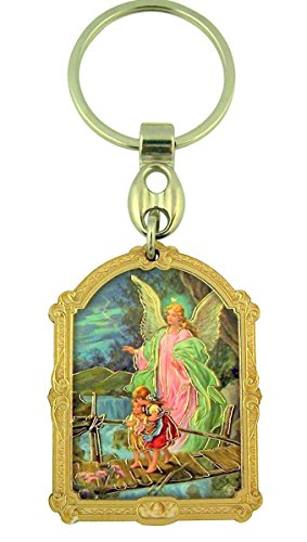Wooden Catholic Saint Icon with Gold Leaf Stamp Design on Key Ring, 3 1/2 Inch (Guardian Angel)