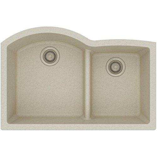 Elkay Quartz Classic ELGHU3322RBQ0 Bisque Offset 60/40 Double Bowl Undermount Sink with Aqua Divide