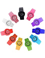 HSW Slap on Watch Silicone Quartz Number Fashion Watch Sport Wrist Band for Children Boy Girl Lady Women Men Unisex Snap Kids Watches