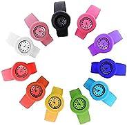 HSW Slap on Watch Silicone Quartz Number Fashion Watch Sport Wrist Band fot Children Boy Girl Lady Women Men U