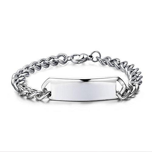 Engravable Silver Bracelets - Free Engraving-Personalized Custom Engravable Message Mens Stainless Steel Tag Link Bracelet Silver 8.67