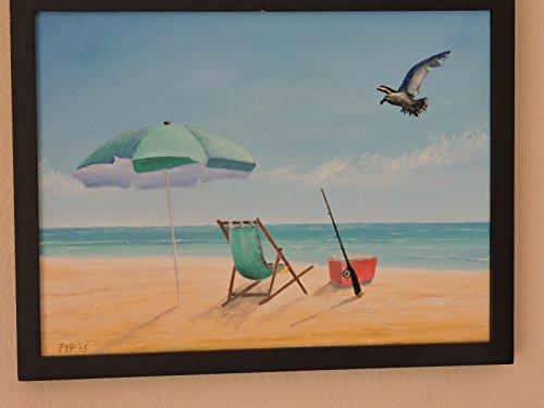 (Original oil painting. Beach fishing scene.)