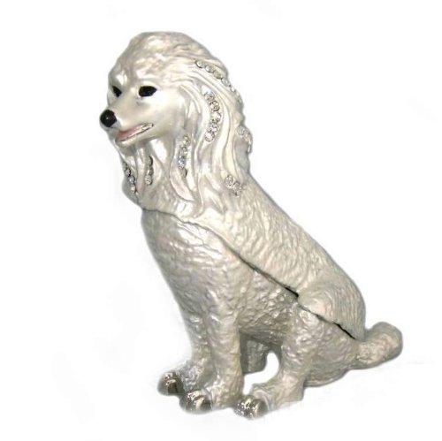 French Poodle Box White Swarovski Crystals Jewelry Trinket Dog Puppy Pill Box ()