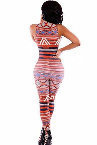 Neuf pour femme Orange Imprimé sans manches Fermeture Éclair avant Combinaison deux pièces Clubwear Party Taille M 10–12EU 38–40