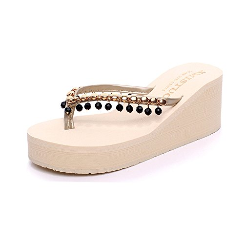 Eagsouni Women's Vintage Chinese Style Embroidery Low Heel Walking Sandals Slippers Beige GLJE0g2I
