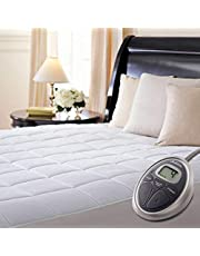 Sunbeam Selecttouch Premium Electric Heated Mattress Pad 100 Percent Quilted Cotton Top, 10 Heat Settings, Queen 60X 80