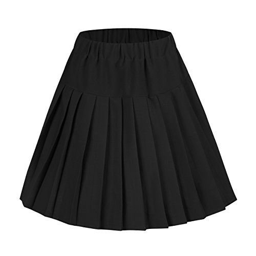 Urban CoCo Women's Elastic Waist Tartan Pleated School Skirt (Medium, Solid Balck) (Black Korean Girl)