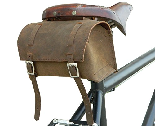 Vintage Raleigh Bike (Herte Genuine Leather Bicycle Saddle Box Bag Utility Vintage Bag Brown)
