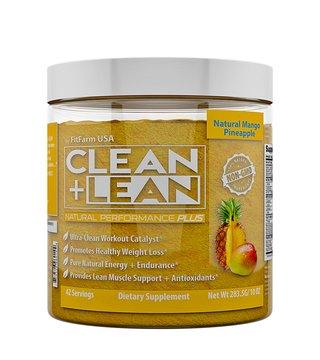 """CLEAN+LEAN NATURAL PERFORMANCE """"PLUS"""" by FitFarm USA: Ultra-Clean Workout Catalyst + Healthy Weight Loss Blend, Lean Muscle BCAA's, and Antioxidants- 100% NON-GMO 42 Svgs, 10oz"""