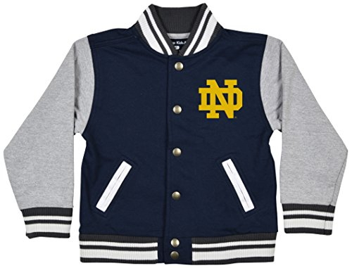 Notre Dame Irish Jacket - NCAA Notre Dame Fighting Irish Children Toddler Letterman Jacket, 3 Toddler, Navy/Oxford
