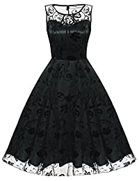 ACEVOG Women's Elegant Illusion Floral Lace Cap Sleeve Bridesmaid Prom Dress