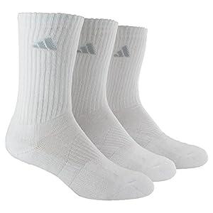 adidas Women's Cushioned 3pk Crew Sock White/White, Shoe Size 5-10