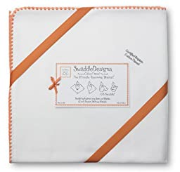 SwaddleDesigns Organic Ultimate Receiving Blanket, Ivory with Color Trim, Orange