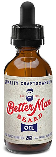 BETTER MAN BEARD Oil – 2 oz All-Natural Leave-in Conditioner with Therapeutic Grade Essential Oils & 100% Natural Formula – Oil1
