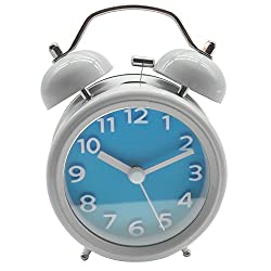 Innolife 3 Quiet Non-ticking Silent Quartz Analog Retro Vintage bedside Twin Bell Alarm Clock With Loud Alarm and Nightlight (3D Number Blue)