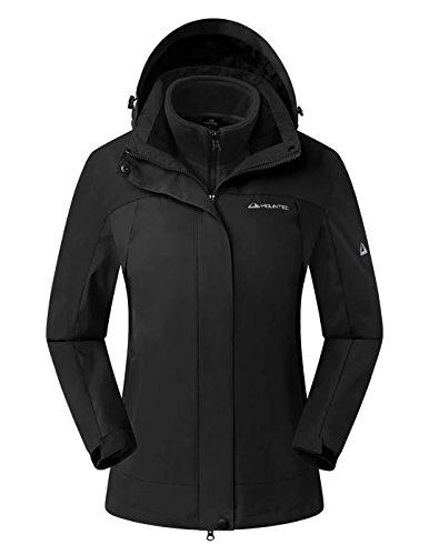 MOUNTEC Women's Windbreaker Winter Jackets With Removable Hood & Inner Fleece Lining