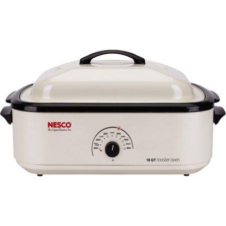 Nesco 22-Pound White Turkey Roaster Oven with Handles for Safe