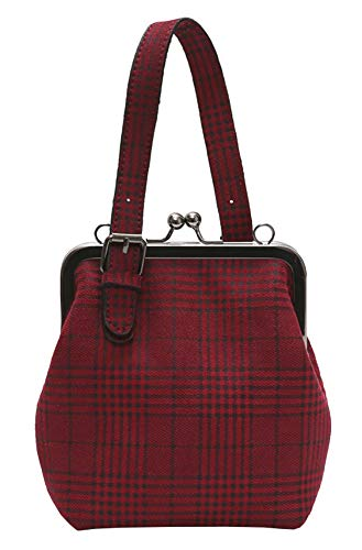 (Onfashion Women's Adjustable Strap Shoulder Handbag Crossbody Bag Plaid Clutch Purse Red)