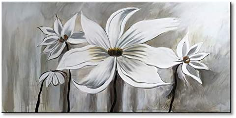 Seekland Art Hand Painted Flower Oil Painting on Canvas Floral Wall Art Abstract Black and White Lotus Modern Decor Contemporary Artwork for Bedroom Living Room Dining Room Framed Ready to Hang