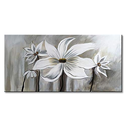- Seekland Art Hand Painted Flower Oil Painting on Canvas Floral Wall Art Abstract Black and White Lotus Modern Decor for Bedroom Living Room Dining Room Framed Ready to Hang