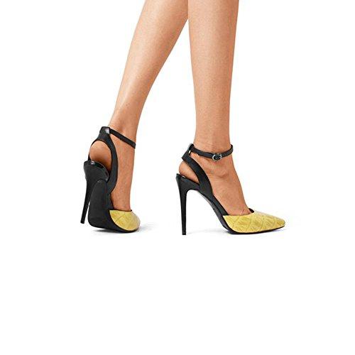 DALL Escarpins Ly-525 Élégant Et Confortable Printemps Et Été Mlle Chaussures Mince Talons Tête Pointue Talons Hauts Sandales 10cm De Haut (Couleur : Le jaune, taille : EU 36/UK 4/CN 36) Le Jaune