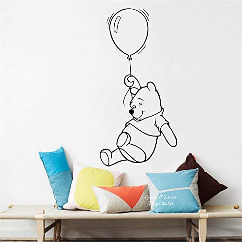 Cartoon Winnie The Pooh Hot Air Balloon Wall Sticker Baby Nursery Cute Bear Animal Animation Decal Easy Wall Art Vinyl Mural for Kid Bedroom