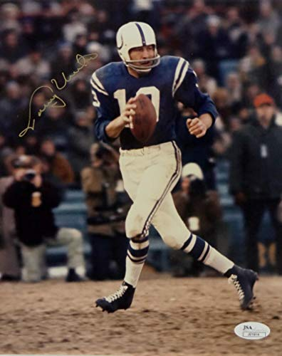 Johnny Unitas Autographed Indianapolis Colts 8x10 Dropping Back to Pass Photo- JSA Auth Gold