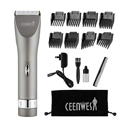 CEENWES Updated Version Professional Hair Clippers Cordless Haircut Kit Rechargeable Hair Trimmer Haircut Grooming kit with 8 Combs & Carrying Bag for Men/Father/Husband/Boyfriend (Clipper Hear)