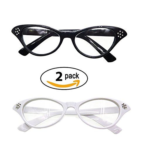 Vintageplace23 TDmall Black and White Vintage Cat Eye Glasses With Rhinestones 50s 2 Pack