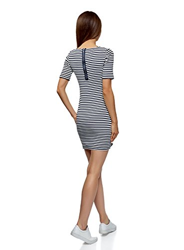 Bianco a Coste 1279s Ultra Aderente Abito Donna oodji w8YqgFn