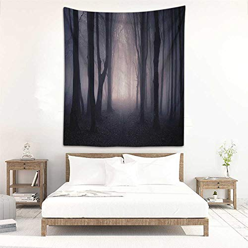 Godves Living Room Tapestry Farm House Decor Path Through Dark Deep in Forest with Fog Halloween Creepy Twisted Branches Picture Bedspread Yoga Mat Blanket 47