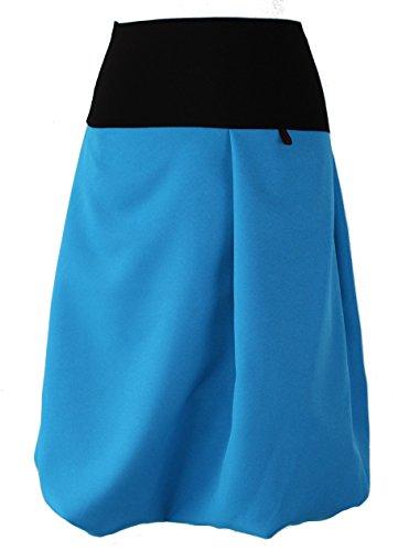 65cm Dunkle Tipo Mujer Azurblau Globo Falda Schwarz Lang Design Para wFFzHq